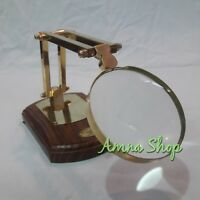 Antique Brass Adjustable Magnifying Glass Wooden Base Collectible Gift Item
