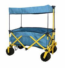 BLUE OUTDOOR FOLDING WAGON CANOPY GARDEN UTILITY TRAVEL CART COMPACT EZ SETUP