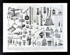 1874 Print Physics Laboratory Lab Distilling Apparatus Thermometer Instruments