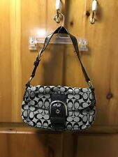 "COACH ~ Jacquard Soho Signature Shoulder Bag - 10"" X 5.5"" Black Gray"