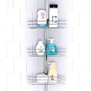 3 Tier Chrome Shower Caddy Bathroom Corner Shelf Adjustable Shelf