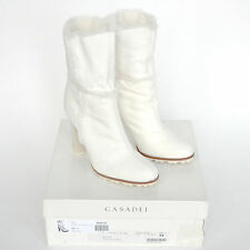CASADEI $869 shearling fur lined white leather Lapponia high heel boots 36 NEW