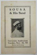 Vintage John Philip Sousa Band Concert Program University Illinois Nov 30, 1909