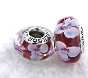 2 PANDORA Silver S925 ALE Charm Pink Blue Flower Red Murano Beads #444