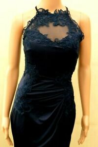 New LIPSY Navy High Neck Lace Trim  Maxi Dress Sz UK 10 12 & 16
