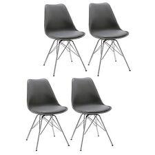 4er Set Esszimmerstuhl Grau Stuhl Vintage Design Retro Kunststoff Metall