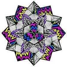 Zig Zag Mandala - Large 20x20 Inch Fuzzy Velvet Coloring Poster