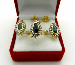 Real 14k Yellow Gold Jewelry Set Natural Diamonds & Sapphire Ring Earrings 9.6gr