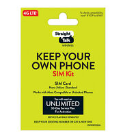 Straight Talk Universal SIM Card Activation Kit for Verizon AT&T T-Mobile Towers