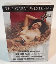 The Great Westerns The Outlaw, One-Eyed Jacks, Kansas Pacific 4 DVD Box Set New!