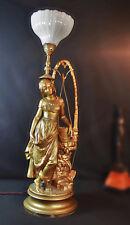 Henri Plé Large signed gilt bronze composition sculpture Jeune Fille Au Puits