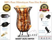 Himalayan Natural Salt Lamp Fire Bowl Basket / Crafted Wrought Iron Salt Chunks