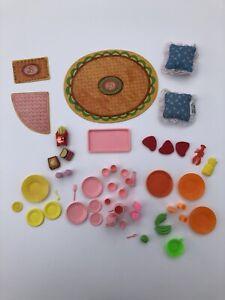 VTG Barbie Accessories Kitchen Food Plates Cups Pink