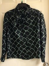 Black, dress blouse, long sleeve, polyester, women's size 10, square pattern