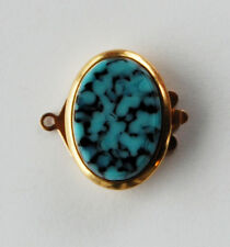 VINTAGE 1 STRAND TURQUOISE BLUE & BLACK GLASS OVAL CLASP • 18x13mm