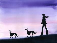 LARGE DOG 5911 DIANNE HEAP GREYHOUND WHIPPET LURCHER DOGS BED PAINTING PRINT ART