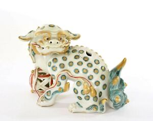 Japanese Kutani Porcelain Fu Dog Lion Shishi Censer Koro Incense Burner - AS IS