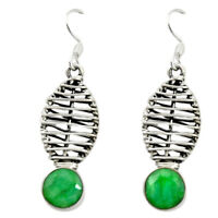 Natural Green Emerald 925 Sterling Silver Dangle Earrings Jewelry D16533