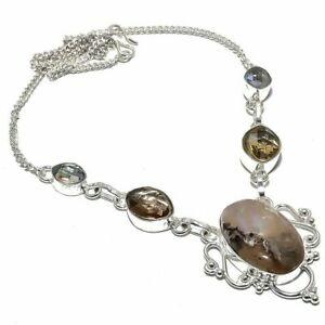 "Dendrite Opal, Smokey Quartz Gemstone Handmade Jewelry Necklace 18""  mkl15"