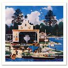 "Jane Wooster Scott Signed ""Salem Shipyard"" Limited Edition 13x13 Lithograph"