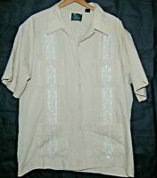 Guayabera Cuban Cigar Mexican Wedding Mens Shirt 4 Pockets Tan Embroidered 2XL