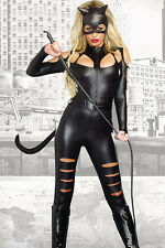 Forever Young Ladies PVC Faux Leather Catfight Catwoman Fancy Dress Costume UK Size 12