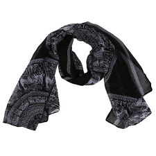 Women Men Accessories Fashion Long Scarf Shawl Large Print Unisex Black I9A9