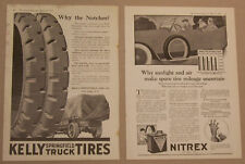 TWO 1920 MAGAZINE ADS FOR KELLY TIRES AND NITREX