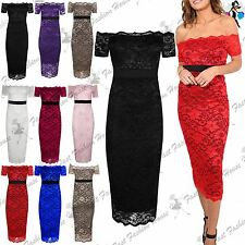 Womens Midi Dress Ladies Off Shoulder Contrast Panel Full Floral Lace Bodycon
