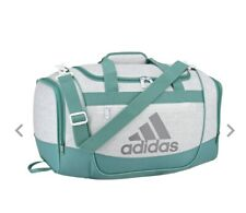 JERSEY WHITE/TRUE GREEN adidas Defender III Small Duffle Bag (D,a)