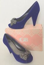 Gianni Bini Love-that Blue Suede Glitter Platform PUMPS 9.5