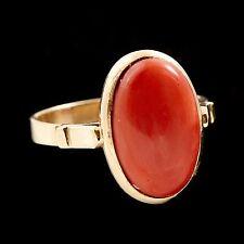 Antique Vintage Deco 14k Yellow Gold Italian Mediterranean Red Coral Ring! Sz 7