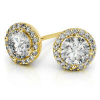 2.00 Ct VVS1 Round Cut Solitaire Diamond Earring Stud 14K Real Yellow Gold Studs