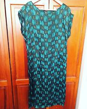Stunning Vintage Green Squares Cap Sleeve Knee Length Wiggle Dress - L