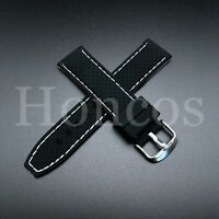 RUBBER WATCH BAND STRAP 22MM FOR TAG HEUER CARRERA MONACO CW2113-0 BLACK WHITE