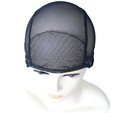 Black Mesh Wig Weaving Caps for Making Wigs Stretchy Net + Straps S M L B14