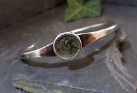 Designer 925 Sterling Silber Armreif Meisterpunze Hammerschlag Münzen Optik