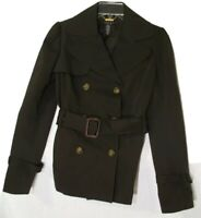 Laundry Shelli Segal Brown Trench Peacoat Jacket Coat 2 XS Belted Lined Stretch