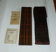 DRUEKE Cribbage Board Wood Inlay Leather Case Teranishi Metal Pegs,Rule Book #51