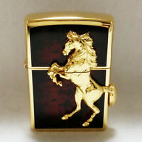 Zippo Horse Winning Whinny Deep Red Gold Plate / RARE Model from Japan !