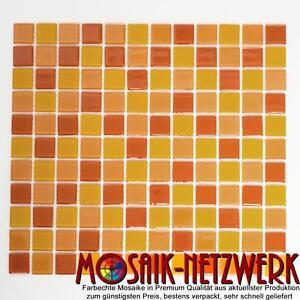 Glasmosaik gelborange orangerot Mosaikfliese Bad Dusche Wand 62-0802_f 10 Matten