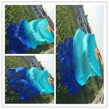 1 pair(L+R) 1.8m long belly dance 100%silk fan veil turquoise+blue