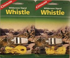 2 PACK WILDERNESS SIGNAL WHISTLE-METAL WITH LANYARD, INCLUDES MORSE CODE GUIDE