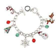 Lux Accessories Christmas Snowflake Snowman Reindeer Beaded Charm Bracelet