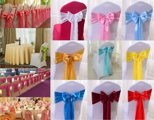 10/20/25/50 PCS Satin Chair Covers Sashes Bows Ties Wedding Party Banquet Decor