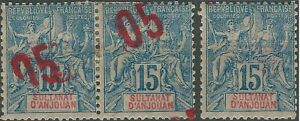 Sultanate of Anjouan 1912 error stamps 5c on 15c blue, 3 diff. rare varieties