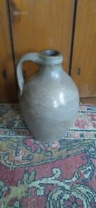"""Antique Early Small Ovoid Stoneware Crock Jug Flask Incised Top 6.5"""" Great Cond"""