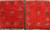 Pair of 2 Thick-Plush Tribal Authentic Gabbeh Hand-knotted Area Rug Oriental 1x1