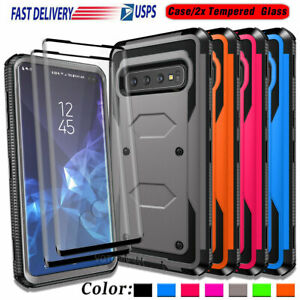 For Samsung Galaxy S10e Plus S10 5G Case Rugged Hard Armor Cover +Tempered Glass