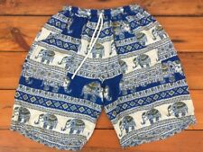 "Thailand Lightweight Cotton Elephants Blue Drawstring Stretchy Shorts Womens 23"""